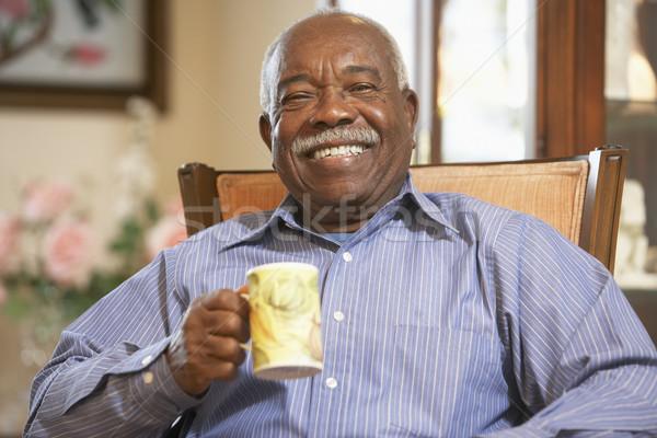 Stockfoto: Senior · man · drinken · hot · thee