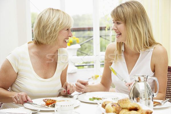 Stock fotó: Két · nő · élvezi · hotel · reggeli · nők · fiatal