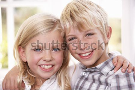 Two young children pose together; Stock photo © monkey_business