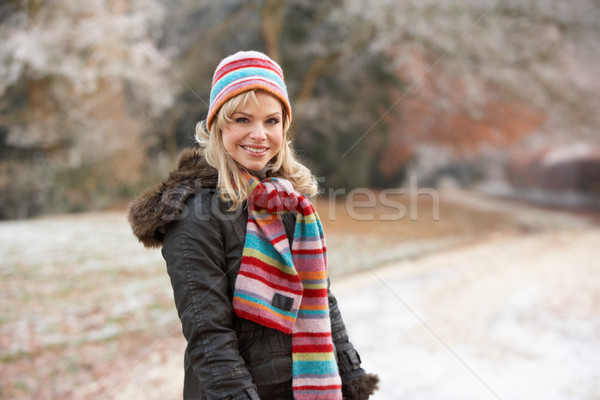 Vrouw winter lopen ijzig landschap persoon Stockfoto © monkey_business