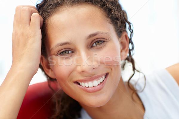 Jonge vrouw hoofd schouders vrouw portret Rood Stockfoto © monkey_business