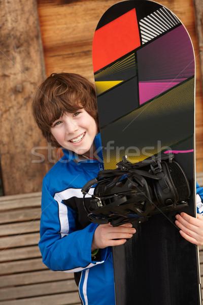 Fiú hódeszka sí ünnep fából készült boldog Stock fotó © monkey_business