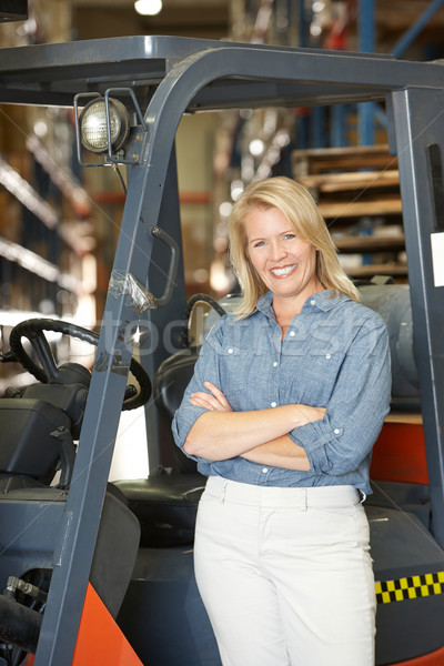 Portrait Of Woman With Fork Lift Truck In Warehouse Stock photo © monkey_business