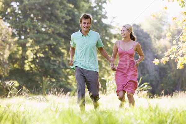 Para uruchomiony odkryty trzymając się za ręce uśmiechnięty trawy Zdjęcia stock © monkey_business