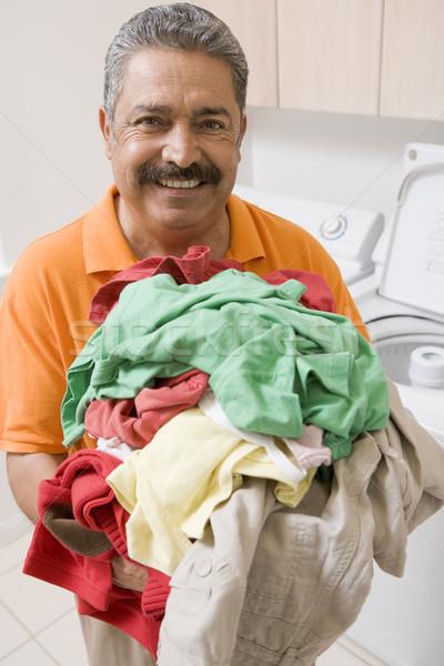 Foto stock: Hombre · lavandería · limpieza · color · pie · lavado