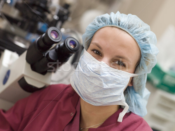 Stock photo: Portrait of embryologist wearing mask