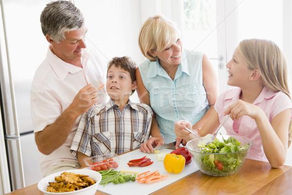 Stock fotó: Nagyszülők · unokák · együtt · nő · család · boldog