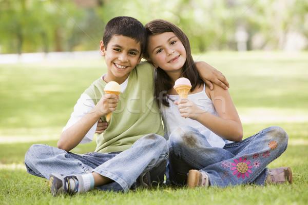Iki çocuklar yeme dondurma park krem Stok fotoğraf © monkey_business