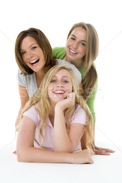 Foto stock: Retrato · amigos · cor · adolescentes · juntos