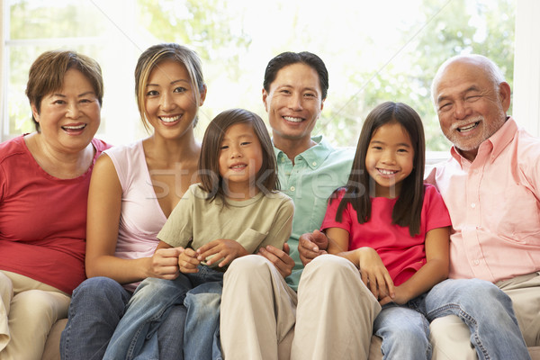 Stock photo: Extended Family Relaxing On Sofa At Home Together