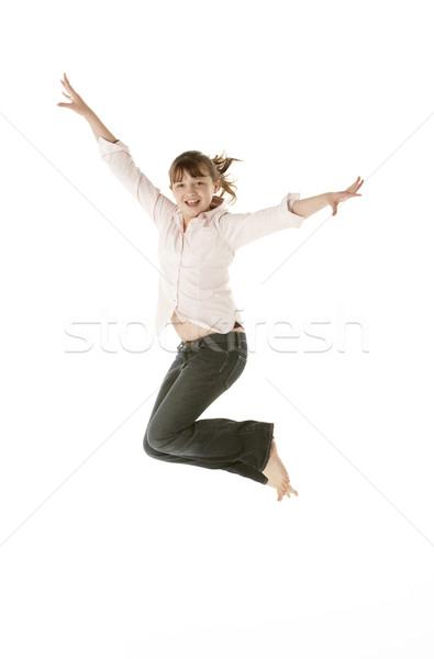 Stockfoto: Jong · meisje · springen · studio · meisje · kinderen