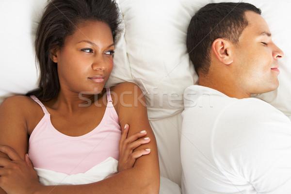Pareja cama relación dificultades mujer mujeres Foto stock © monkey_business
