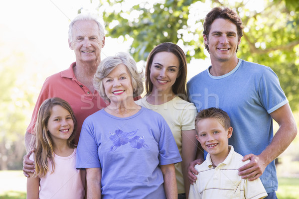 Extended family standing in park smiling Stock photo © monkey_business