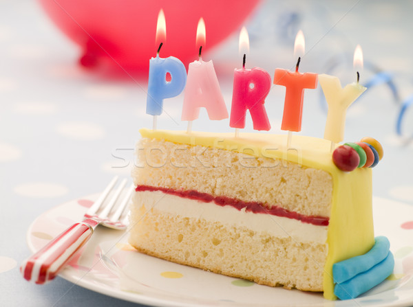 Stock photo: Party Candles on a Slice of Birthday Cake