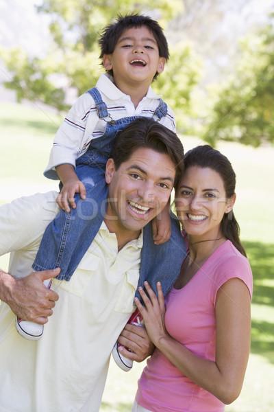 Foto d'archivio: Famiglia · esterna · sorridere · amore · uomo · campo