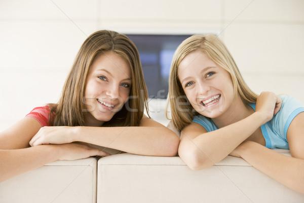 Két nő nappali mosolyog nő mosoly nők Stock fotó © monkey_business