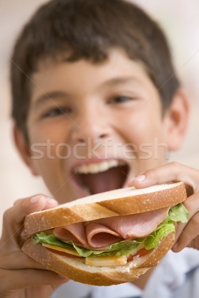 Young boy eating sandwich smiling Stock photo © monkey_business