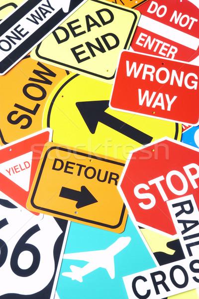 Groep verkeersborden kleur verkeersbord afbeelding Stockfoto © monkey_business