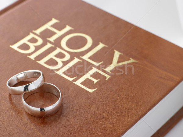Wedding Rings Resting On A Holy Bible Stock photo © monkey_business