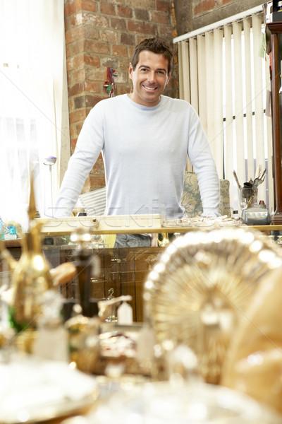 Férfi antik bolt birtokos férfi személy Stock fotó © monkey_business