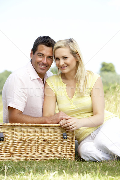 ストックフォト: ピクニック · 男 · 幸せ · 夏