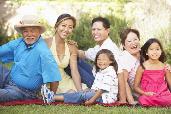 Uitgebreide familie groep ontspannen tuin familie gelukkig Stockfoto © monkey_business