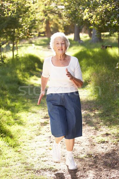 Foto stock: Senior · mulher · corrida · parque · feliz · correr