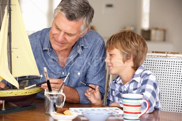 Starszy człowiek model wnuk rodziny Zdjęcia stock © monkey_business