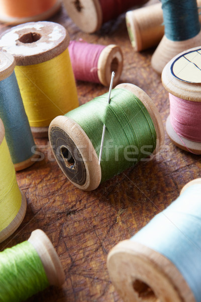 Cotton reels on table top Stock photo © monkey_business