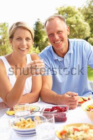 пару отпуск еды улице женщину пляж Сток-фото © monkey_business