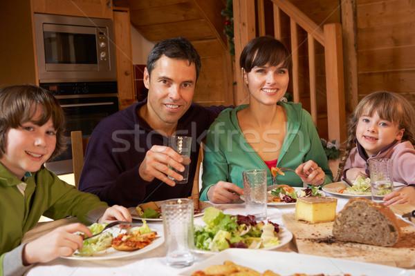 Família refeição alpino juntos homem Foto stock © monkey_business