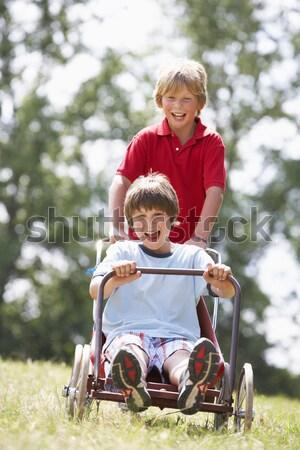 Mãe filha carrinho de mão crianças jardim verão Foto stock © monkey_business
