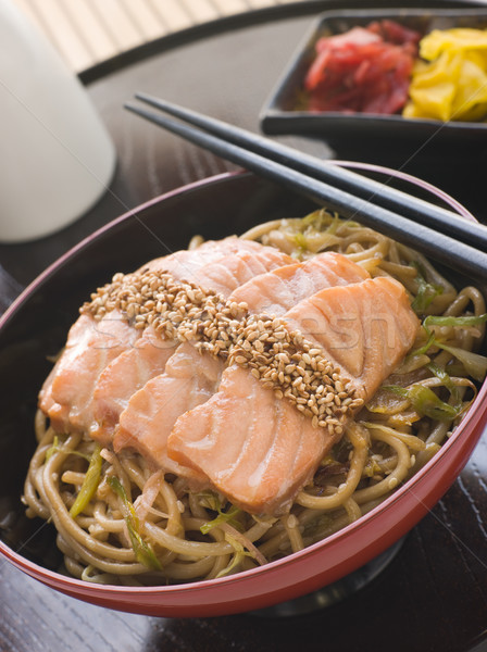 Sesame Crusted Salmon Fried Noodles and Pickles Stock photo © monkey_business