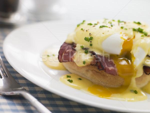 Foto stock: Placa · huevos · alimentos · desayuno · cocina · jamón