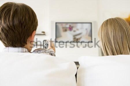 Photo stock: Couple · salon · femme · homme · technologie