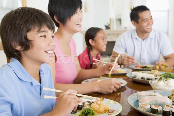 Família alimentação juntos mulher homem feliz Foto stock © monkey_business