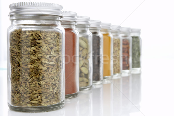 Stock photo: Jars Of Herbs And Spices