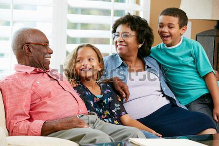Stockfoto: Familie · samen · home · meisje · gelukkig · portret