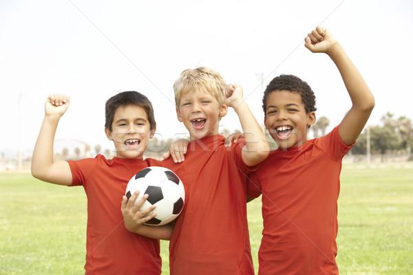 Foto stock: Jóvenes · ninas · fútbol · equipo · ninos