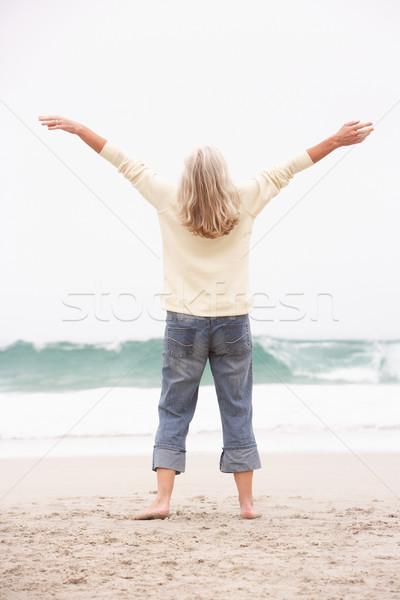 старший женщину оружия зима пляж морем Сток-фото © monkey_business