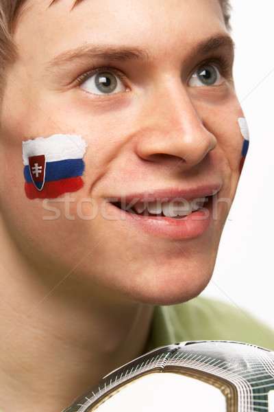 Young Male Football Fan With Slovakian Flag Painted On Face Stock photo © monkey_business