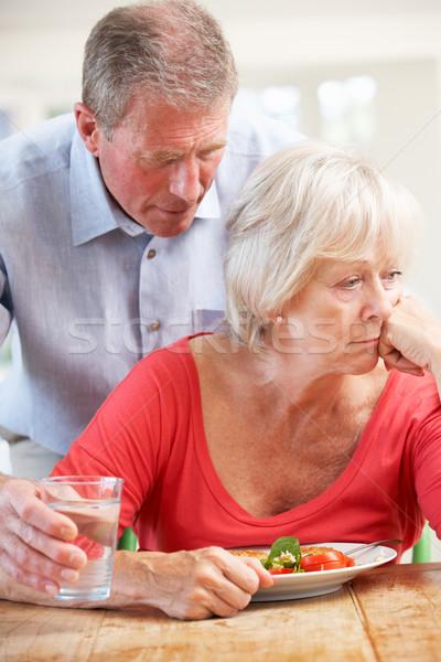 Stock fotó: Idős · férfi · néz · beteg · feleség · üveg