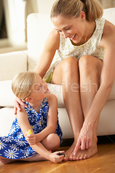 Daughter Painting Mother's Toenails At Home Stock photo © monkey_business