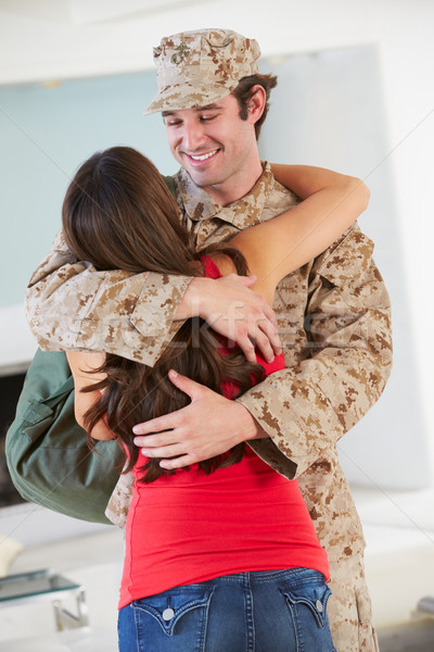 Wife Greeting Military Husband Home On Leave Stock photo © monkey_business