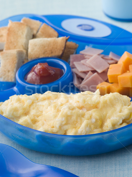 Scrambled Egg with Toast Ham and Cheese Squares Stock photo © monkey_business