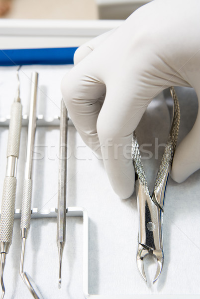 Dental tools with a gloved hand Stock photo © monkey_business