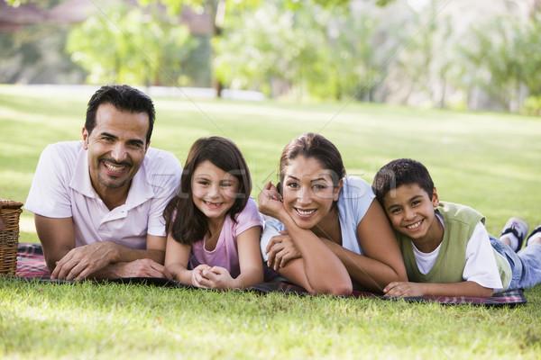 Foto stock: Família · piquenique · parque · crianças · pai · feminino