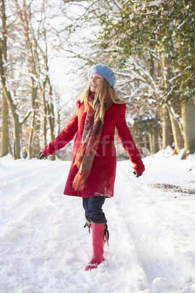 Stockfoto: Vrouw · lopen · sneeuw · winter · portret · oefening