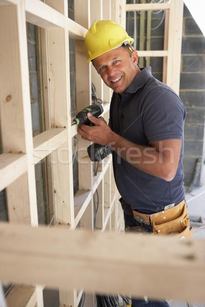 Bina kereste çerçeve yeni ev inşaat Stok fotoğraf © monkey_business