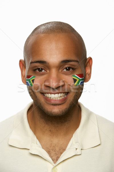 Young Male Sports Fan With South African Flag Painted On Face Stock photo © monkey_business